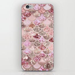 Rose Gold Blush Glitter Ombre Mermaid Scales Pattern iPhone Skin