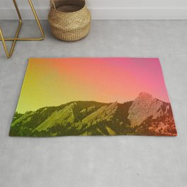 Boulder Colorado Flatirons Decor \\ Chautauqua Park Sunset Red Yellow Photo Nature Bohemian Style Rug