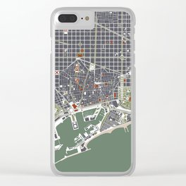 Barcelona city map engraving Clear iPhone Case