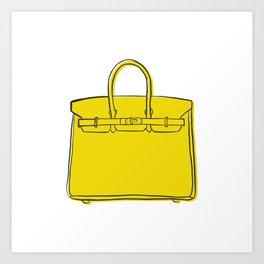 Lemon Yellow Birkin Vibes High Fashion Purse Illustration Art Print