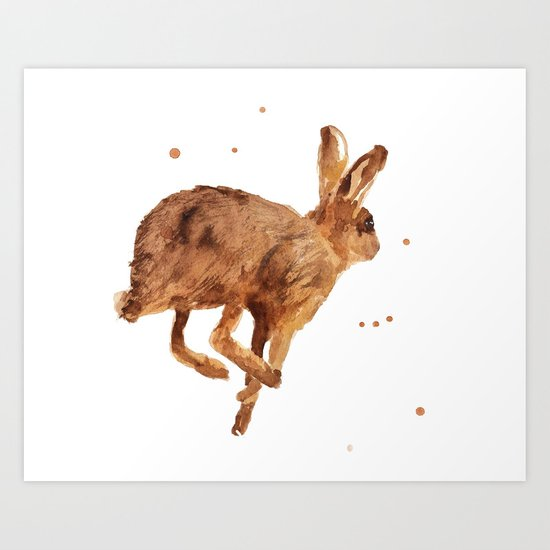 hare, mad as a march hare, british wildlife, meadow animals, haring about Art Print