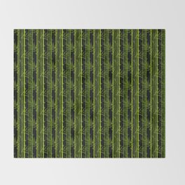 Green Bamboo Shoots and Leaves Pattern on Black Throw Blanket