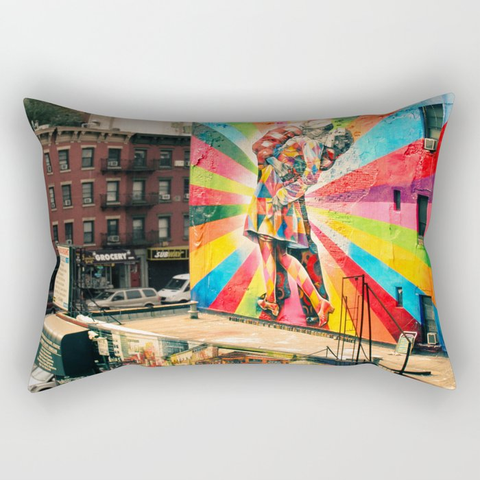 Street Art Mural, Times Square Kiss Recreation Rectangular Pillow