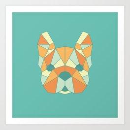 Geo Frenchie - Teal & Orange Art Print