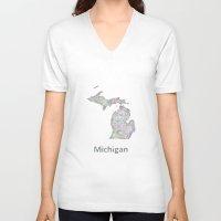michigan V-neck T-shirts featuring Michigan map by David Zydd