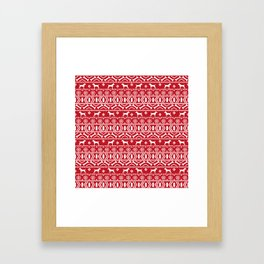 Jack Russell Terrier fair isle christmas sweater dog breed pattern holidays red and white Framed Art Print
