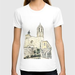 Stairs to the Beach from a medieval Church in Sitges near Barcelona T-shirt