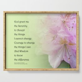 Serenity Prayer Pink Rhododendrons Serving Tray