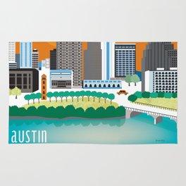 Austin, Texas - Skyline Illustration by Loose Petals Rug