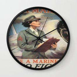 Vintage poster - Be a Marine Wall Clock