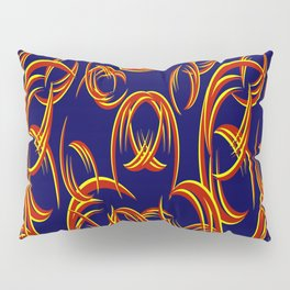 Pattern of red and yellow lines on a blue background. Pillow Sham