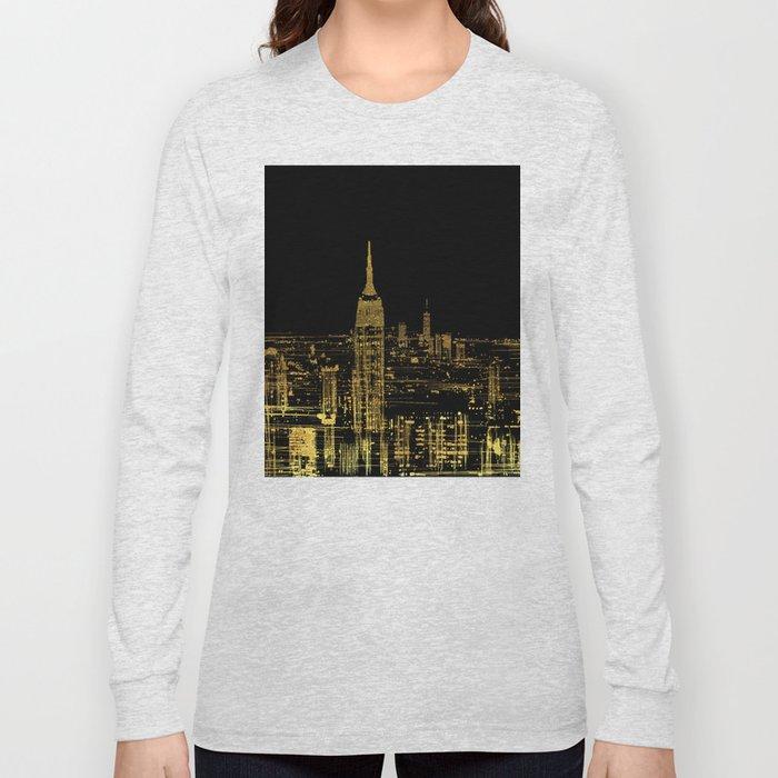 Abstract Gold City  Skyline Design Long Sleeve T-shirt