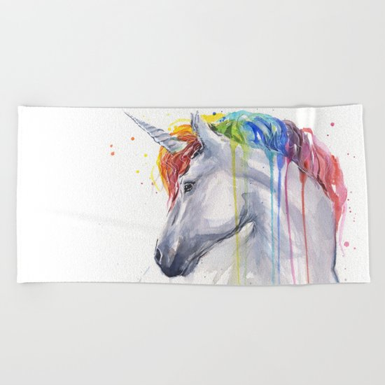 Rainbow Unicorn Watercolor Beach Towel