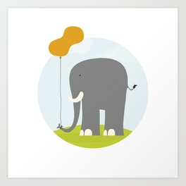 An Elephant With a Peanut Balloon Art Print