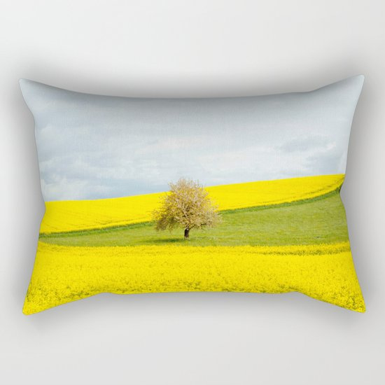 Tree in Yellow Field Rectangular Pillow