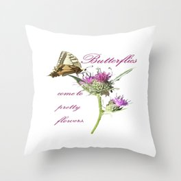 Butterflies Come To Pretty Flowers Korean Proverb Throw Pillow