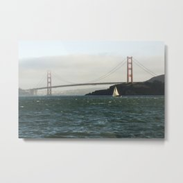 Sailing Under the Golden Gate Bridge Photography Print Metal Print
