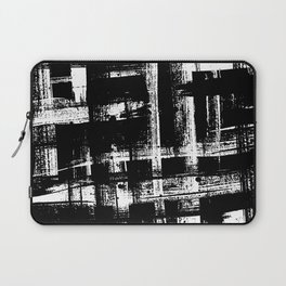 Artist Brush Rough Strokes Weave Pattern Minimal Black and White Art Laptop Sleeve