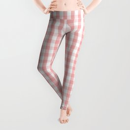 Large Lush Blush Pink and White Gingham Check Leggings