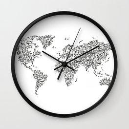 Kanji Calligraphy World Map Wall Clock