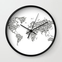 Kanji Calligraphy World Map Wall Clock