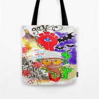 fear and loathing Tote Bags featuring GONZO Fear and Loathing Print by Just Bailey Designs