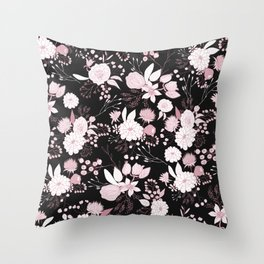Blush pink white black rustic abstract floral illustration Throw Pillow