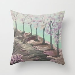 My cherry way - Spring blossoms Throw Pillow