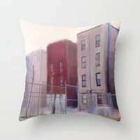 brooklyn Throw Pillows featuring Brooklyn by Ross Burnham