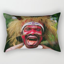 Eating a Betel Nut in Papua New Guinea Rectangular Pillow