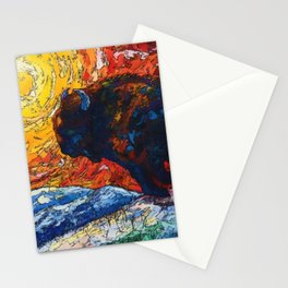 Bison Running print of OLena Art Wild the Storm Oil Painting With Palette Knife #society6 Stationery Cards