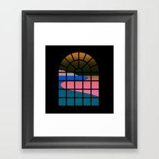 WINDOW 001: BEACH VIEW Framed Art Print