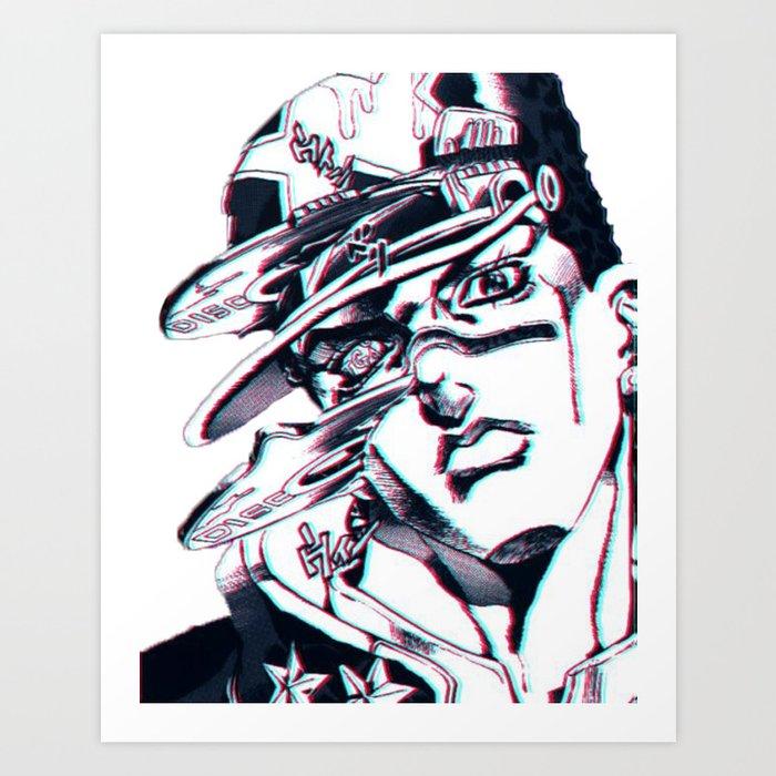 Jotaro Kujo From Jojo S Bizarre Adventure Affected By Whitesnake Art Print By Freezah Society6