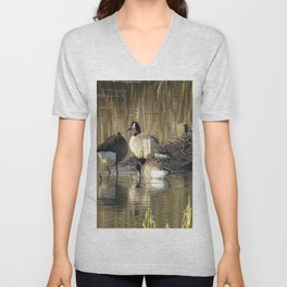 Ducks at John Heinz Wildlife Reguce Unisex V-Neck