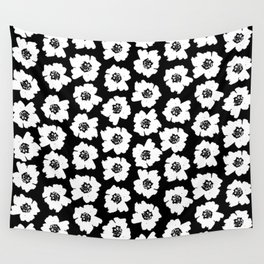 Linocut botanical nature floral flower art nursery black and white decor newborn Wall Tapestry