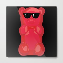 Gummy Bear With Sunglasses Graphic Metal Print