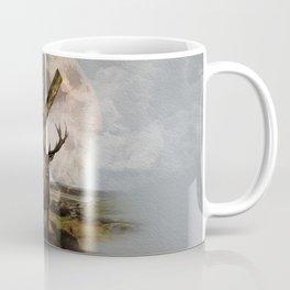 Algiz  Rune and Deer Digital Art Collage Coffee Mug