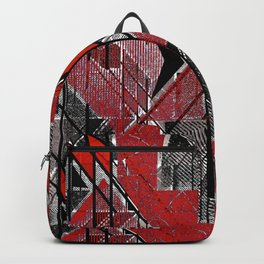 Red and black geometric shapes. Backpack
