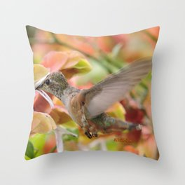 Little Ms. Hummingbird in for More Licks Throw Pillow