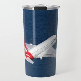 Qantas Airbus A380 departing Sydney. Travel Mug