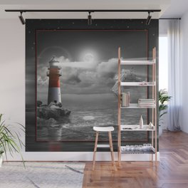 Lighthouse and Sailboat under moonlight Wall Mural