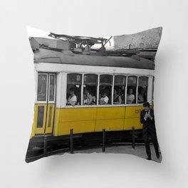 Tram Smoking in Lisbon Throw Pillow