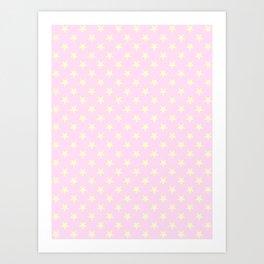 Cream Yellow on Pink Lace Stars Art Print