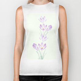 purple botanical crocus flowers Biker Tank