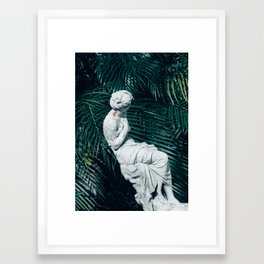 Statue with Palms Framed Art Print