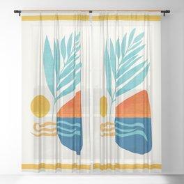 Modern Pop Abstract Landscape Sheer Curtain