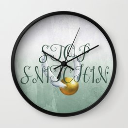 """Stop Golden Snitchin'"" Print Green & Silver 2/2 Wall Clock"