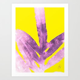 Green Fern on Bright Yellow Inverted Art Print