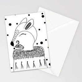 Miss Hata (black and white) Stationery Cards