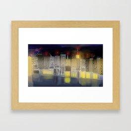 NY inspired skyline (lights on) Framed Art Print
